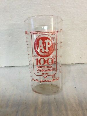 Vintage A&P Supermarkets 100th Birthday Celebration Red Pyro Glass Measuring Cup