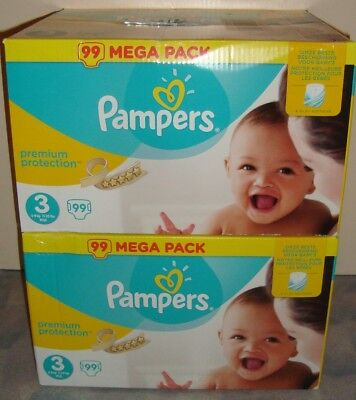 198  couches pampers premium protection   Taille 3 (5 / 9kg)  2 paquets  NEUFS