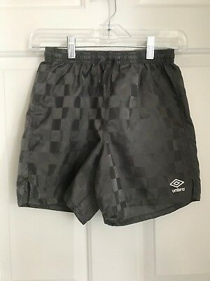 Umbro Youth Soccer Shorts Checkered Design Gray Size M