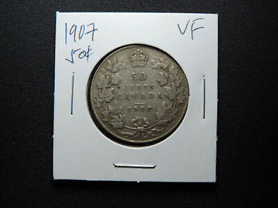 1907 50 Cent Coin Canada King Edward VII .925 Silver VF Condition