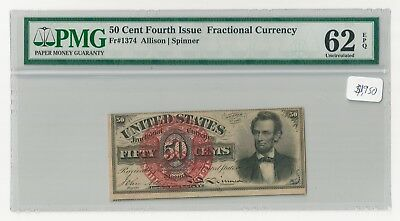 Fr#1374 50¢ 4th Issue Abraham Lincoln Fractional Currency, PMG 62 EPQ
