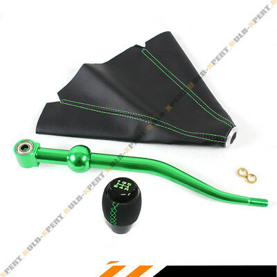 For 88-00 Honda Civic Green Dual Bend Short Shifter + Shift Knob + Leather Boot