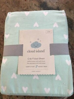 Cute Baby Fitted Crib Sheet Hearts Cloud Island™ Mint A3010 Brand New w Tags