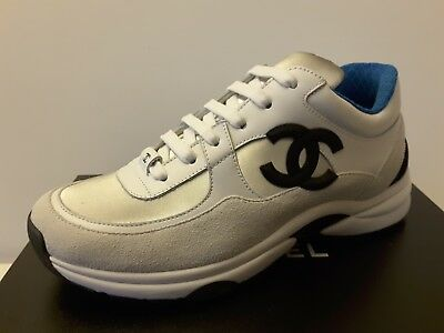 bae9dee94 NIB Chanel runners trainers leather White Silver Blue Sneakers Size 35 - 42
