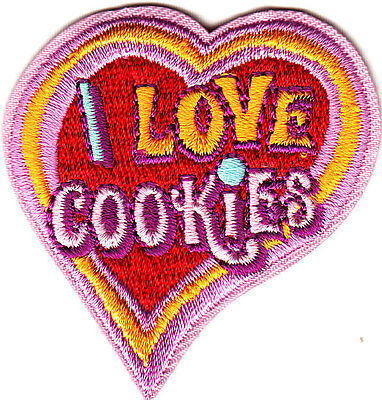 """""""I LOVE COOKIES"""" HEART/Iron On Embroidered Patch /Food, Dessert, Baking,Cookie"""