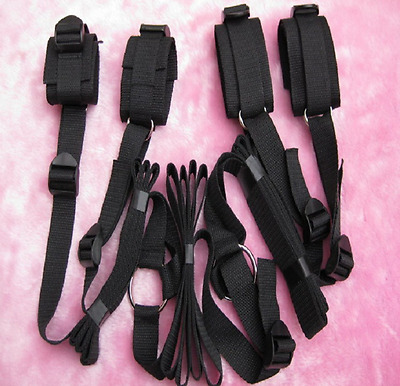 Bed Restraints Straps Handcuffs Ankle cuff Set Roleplay Tie up BDSM Sub Dom