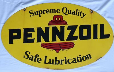 Original Vintage Pennzoil Double-Sided Tin Sign, Date-Coded August 1975,Straight