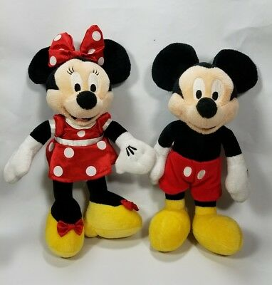 """Disney Mickey And Minnie Mouse Plush Vintage 10""""  Toy Stuffed Animal Collectible"""