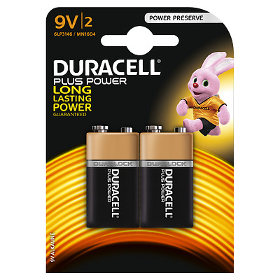 4 x Duracell 9V PP3 Plus Power Batteries, Smoke Alarms (LR22, MN1604, 6LR61