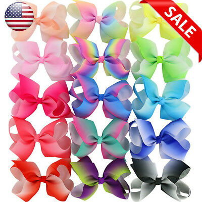 15 Piece 4.5 Inches Grosgrain Girls Hair Bows With Alligator Clips For Teens Kid
