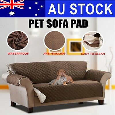 AU 3 Seater Pet Couch Sofa Cover Removable Slipcover Quilted Dog Protector Strap