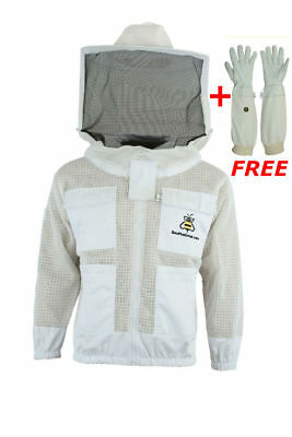 Premium Bee Clothing 3 Layer Ultra Ventilated beekeeping jacket Round veil 4XL-3