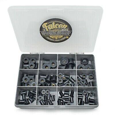 90 Assorted Piece M3 M4 M5 M6 M8 Black Rubber Rubnuts Well Nut Rivet Rivnut Kit