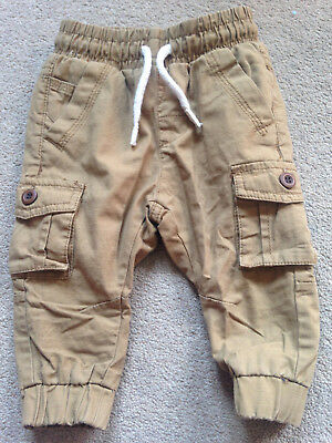 BNWT NEXT Boys Brown Lined Combat Cargo Trousers 6-9 Months