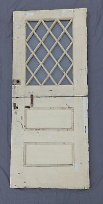 Antique 75x32 Dutch Door Entrance Door Diamond Cottage Tudor Shabby Vtg 565-18P