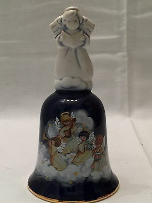 """Avon Porcelain Christmas Bell """"Heavenly Notes"""" Blue with Angels 1992 Vintage"""