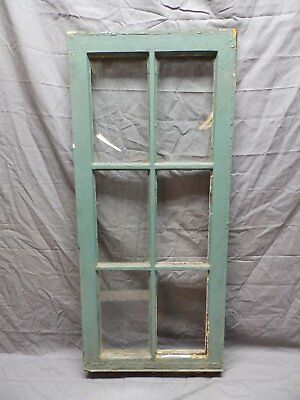 Antique Vtg Wood 6 Lite Pane Casement Window 39x17 Cabinet Door Old 573-18P