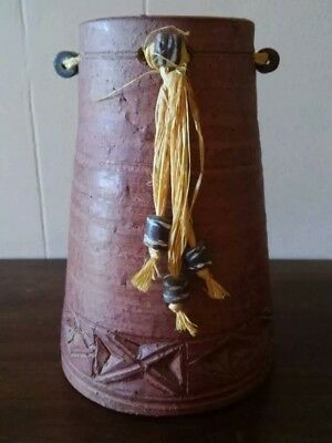 African Art Pottery w/Tribal Beads & Twine - Unique Ceramics Ghana