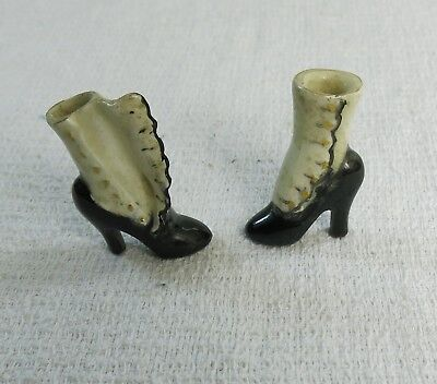 Antique Victorian Painted Black & White Porcelain Doll Miniature Heeled Boots