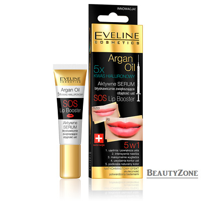 EVELINE COSMETICS ARGAN OIL SOS LIP BOOSTER ACTIVE SERUM 5xHYALURONIC ACID 12ml