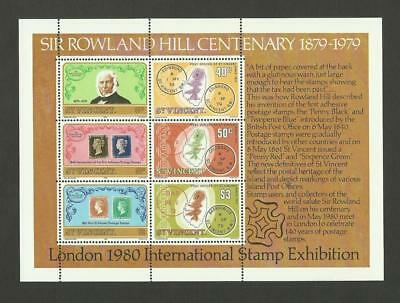 St Vincent MNH 1979 100th Annivesary of the Death of Sir Rowland Hill M/S