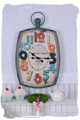 Industry Wall Clock Vintage Port Watch Shabby Chic Deco Decoration Loft