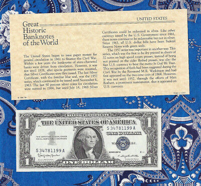 Great Historic Banknotes United States 1957B $1 Silver Certificate S-A UNC P419b