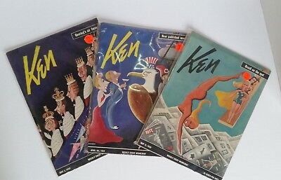 Lot of 3 Vintage Ken Magazines 1939 RARE Weekly WW2 Politics Sports Fashion MORE