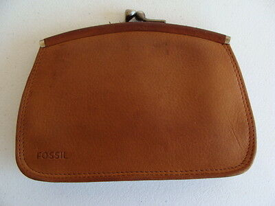 Vintage Fossil Tan Genuine Leather Change Purse - Vguc
