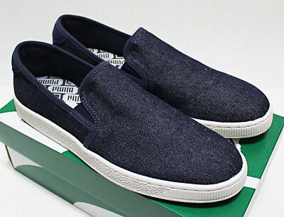 low priced 66df7 cd3e3 $60 NIB PUMA BASKET CLASSIC DENIM INDIGO Canvas Slip-On Sneakers 10.5 bts