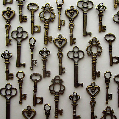 Lot of 48 Vintage Style Key Antique Skeleton Charm Cabinet Old Lock Keys Bronze