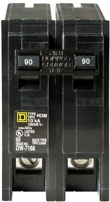 Square D Homeline Electrical Circuit Breaker 90 Amp 2 Pole Standard Trip Plug In