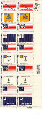USA Block 2 - USA 6c Historical Flags Numbered Block MUH (block of 20)