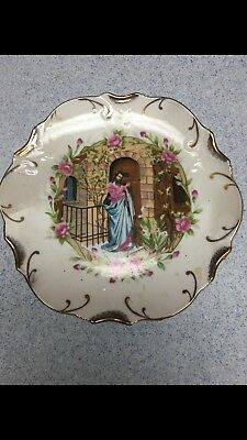 Religious Collector's Decorative Plates Trimmed In 18K Gold. Charming Vintage