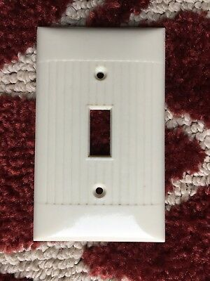 Vintage Bakelite Ivory Sierra Light Switch Plate Ribbed Cover Used USA Made