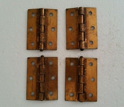 4 matching vintage brass plated 2 by 2 1/2 inch cabinet hinges. (58HB)