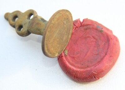 Antique European Bronze Pseudo-Heraldry Sealing Wax Stamp Seal