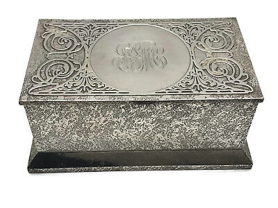 Antique Cross Art Nouveau Sterling Silver on  Bronze Box Humidor Casket ca. 1910