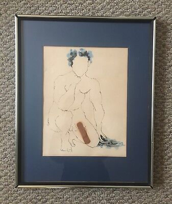 "Vintage Ink & Color Wash Drawing of A Nude Male w/Bandaid Signed ""El Toro"""