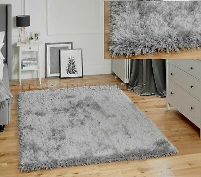 Small- Large Thick Chunky Deep Soft Dense Pile Silver Grey Lush Jewel Shaggy Rug