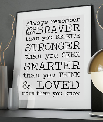 Winnie the Pooh Inspirational Quote Poster Art Print A3 A4 A5 A6 Decor Gift Love