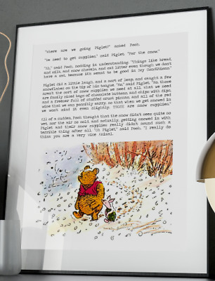 Winnie the Pooh Snow Day Wine Inspirational Quote Poster Art Print A3 A4 A5 A6