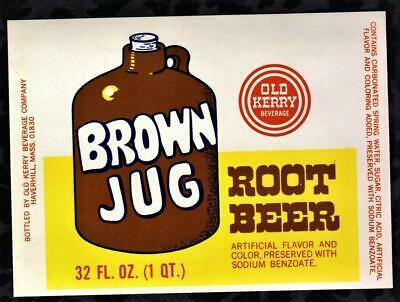 1960 s Brown Jug Root Beer Bottle Label  Old Kerry Beverage  FREE USA SHIPPING