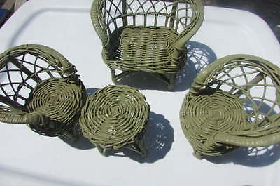 """Doll Green Wicker Bamboo Furniture Set For Small Dolls 1950's 8""""-10.5"""" Vintage"""