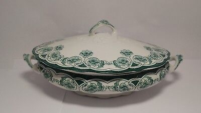 Antique c1890s New Wharf Pottery Berkley Oval Covered Vegetable Bowl / Tureen