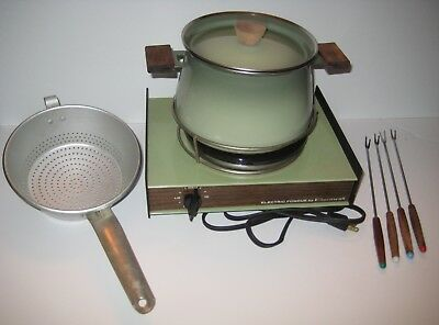 VINTAGE Cornwall Electric Fondue Set AVOCADO Green w/ Burner, Strainer & 4 Forks