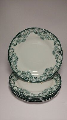 "Set of FIVE Antique c1890s New Wharf Pottery Berkley 9 1/8"" Luncheon Plates"