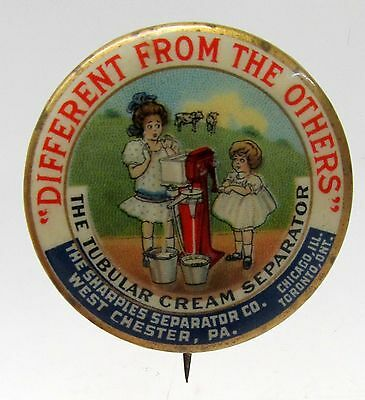 1896 SHARPLES CREAM SEPARATOR Two Young Girls Dairy pinback button *