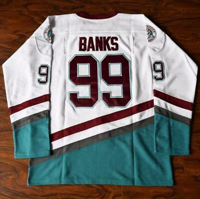 USA FEDEX SHIP Mighty Ducks  99 Adam Banks Movie Hockey Jersey Green ... d27a0ab62