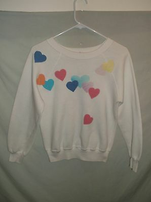 VTG 80s HEARTS sweat shirt Sm-Med Womens girls soft cute Energie brand Love